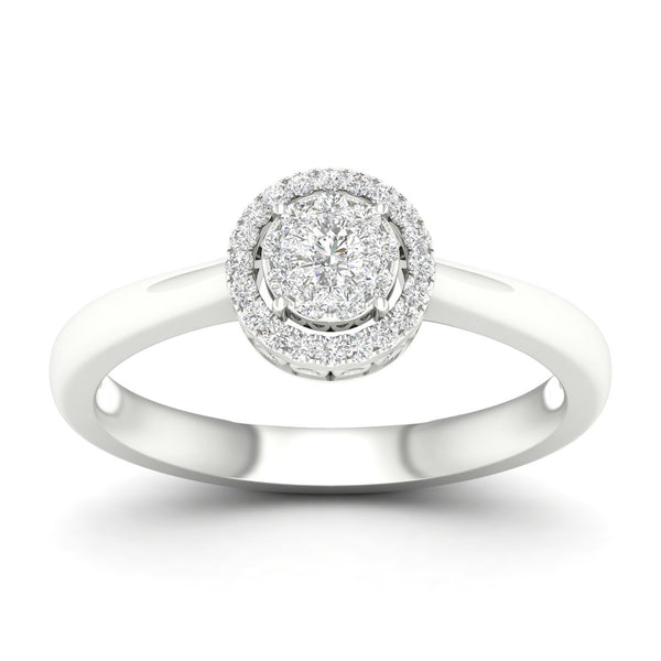 14kt Round Shape Halo Ring