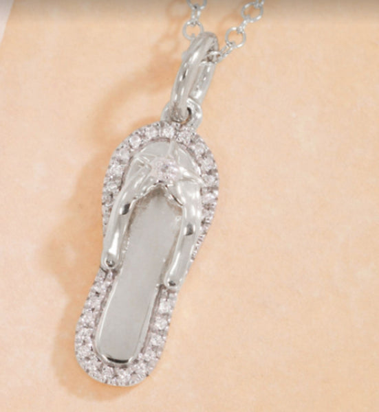 Diamond Flip Flop Necklace
