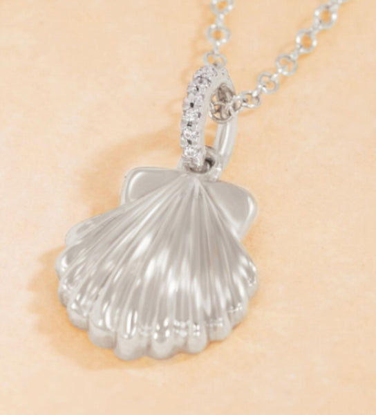 Diamond Scallop Shell Pendant