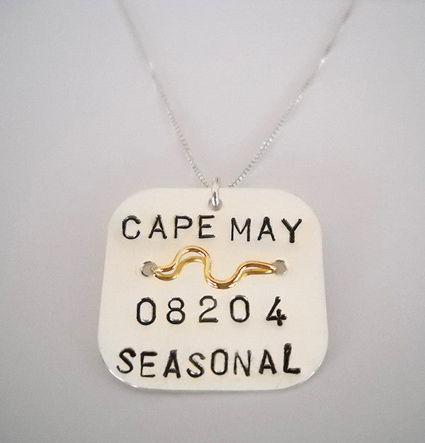 Beach Tag Pendant - Sterling Silver with 14K Gold Wire