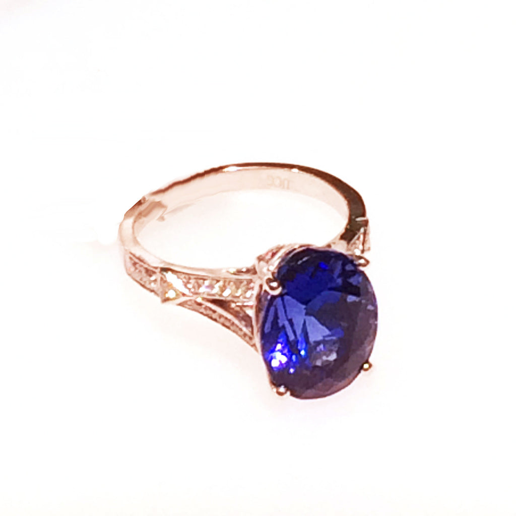 White Gold, Tanzanite and Diamond Ring