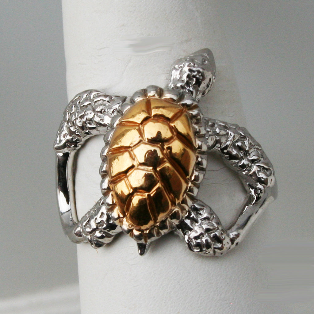 Turtle Ring - Sterling Silver with Gold Plating