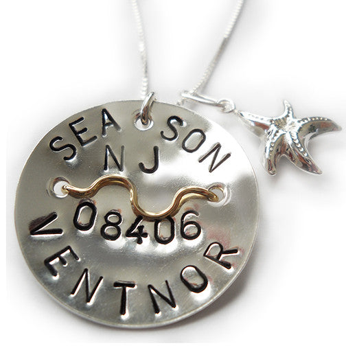 Ventnor Beach Tag Pendant and Necklace.