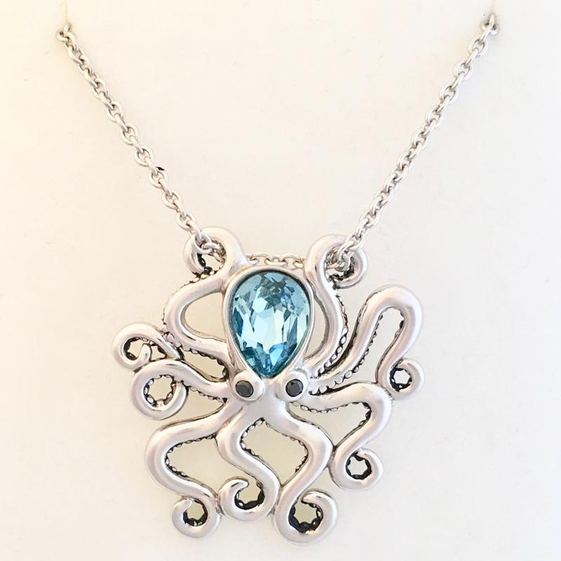 Large Octopus Swarovski Pendant Necklace