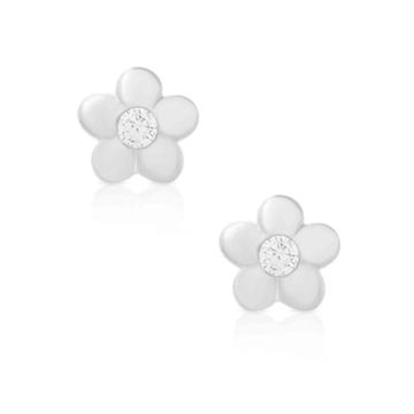Silver Flower Post Earrings for Kids