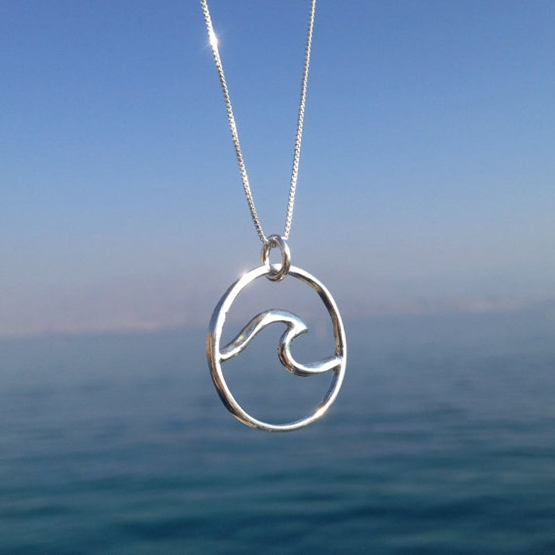 Sterling Silver Wave Necklace (large)