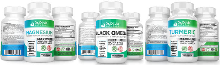 Dr Olivia Naturals Lineup with Turmeric, Magnesium and Fish Oil