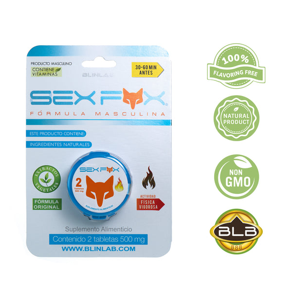 Sex Fox Blister 2 tabletas - Vigorizante masculion, potenciador sexual