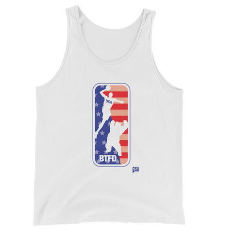 4th of July USA BTFD Bear Dunk White Unisex Tank Top