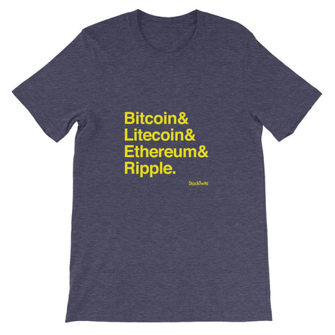 $BTCUSD $LTCUSD $ETHUSD $XRPUSD Crypto Heather Midnight Navy Unisex short sleeve t-shirt
