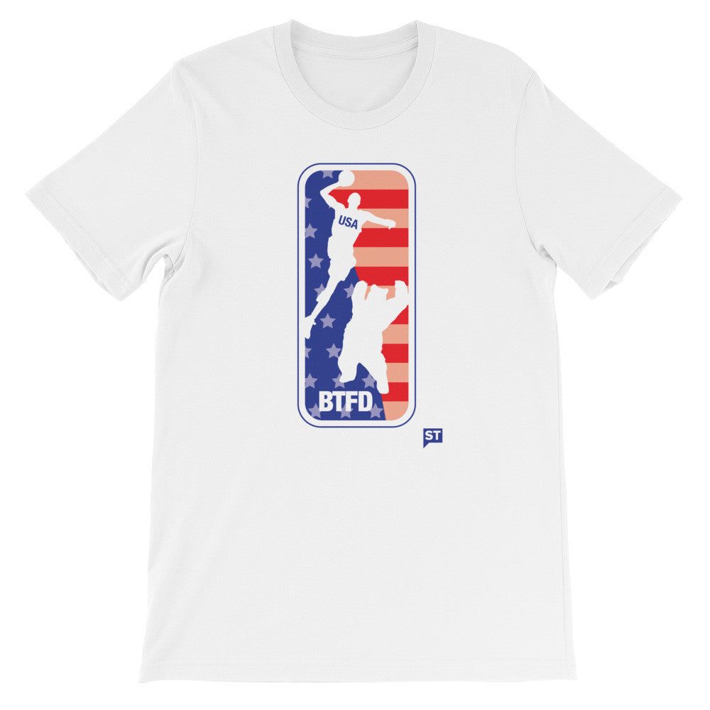 4th of July USA BTFD Bear Dunk White Unisex short sleeve t-shirt