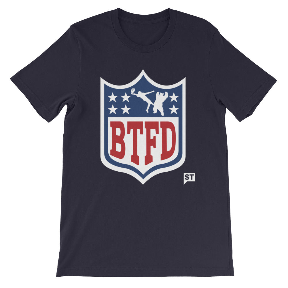 BTFDFL Bear Missed Tackle Navy or Grey Unisex short sleeve t-shirt