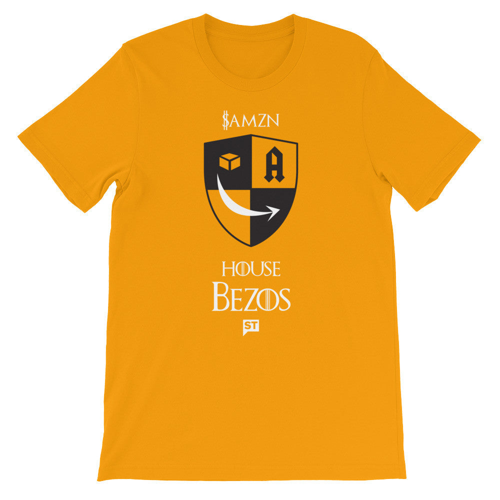 $AMZN House Bezos Gold Unisex short sleeve t-shirt