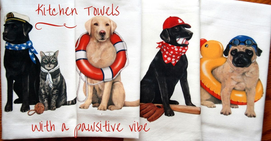 Summer goes to the Dogs - Flour Sack Dish Towels