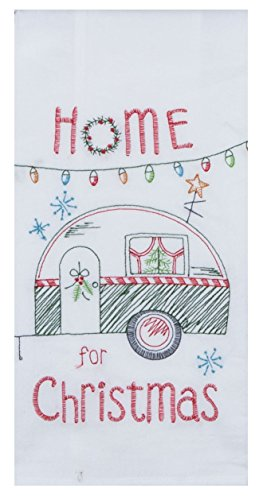 "Kay Dee Embroidered Christmas Camper Trailer Flour Sack Dish Towel - 18"" x 28"""