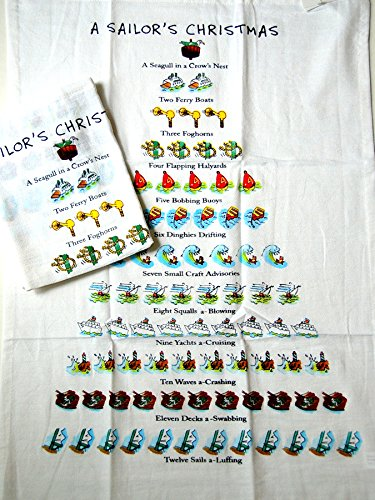 Twelve Days Of a Sailor's Christmas Flour Sack Kitchen Dish Towel - 18