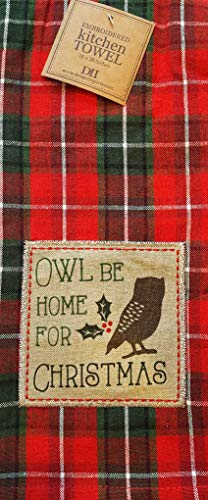 Design Imports Owl Be Home for Christmas Applique Plaid Kitchen Dish Towel