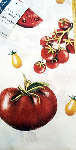 "Mary Lake Thompson Charcoal Sketch Look Heirloom Tomatoes - Flour Sack Dish Towel Cotton 30"" x 30"""