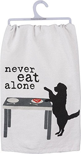 Primitives by Kathy - Never Eat Alone Dog Dish Towel