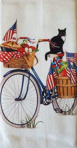 "Mary Lake Thompson Blue Flag Patriotic Bike 100% Cotton Flour Sack Dish Tea Towel 30"" x 30"""