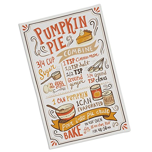 Pumpkin Pie Recipe Dish Towel, Tea Towel, 100% Cotton Fall Decor, Thanksgiving