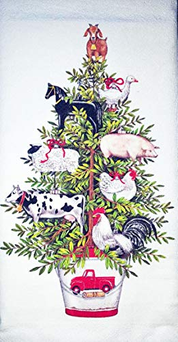 Mary Lake Thompson Farm Animals Potted Christmas Tree Kitchen Dish Towel