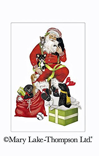 "Mary Lake Thompson Christmas Puppy Dog Santa Claus 100% Cotton Flour Sack Dish Tea Towel 30"" x 30"""