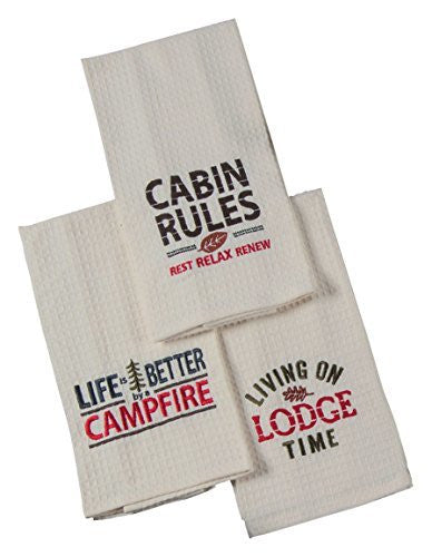 Kay Dee Designs Simple Living Lodge Time Embroidered Waffle Towels (Set of 3)