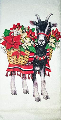 Mary Lake Thompson Christmas Poinsettia Goat Kitchen Dish Towel