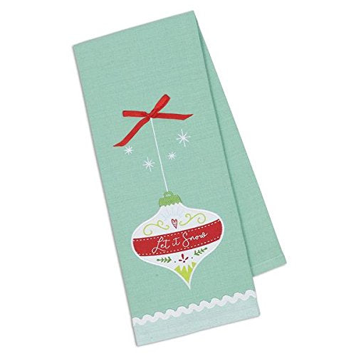 "Design Imports Let It Snow Embroidered Ornament Dish Towel - 18"" 28"""