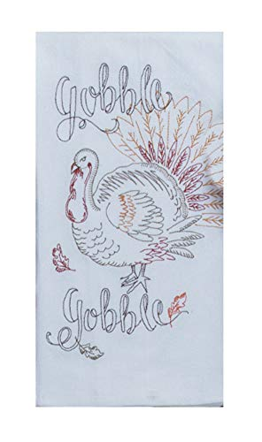 Kay Dee Embroidered Harvest Turkey Flour Sack Dish Towel - 18 x 28