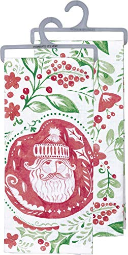 Primitives by Kathy Pennsylvania Dutch Christmas Pattern Santa Dish Towel