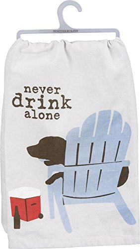 Primitives by Kathy - Never Drink Alone Dog Dish Towel