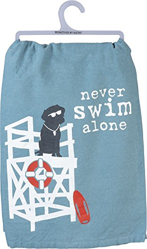 Primitives by Kathy - Never Swim Alone Dog Dish Towel