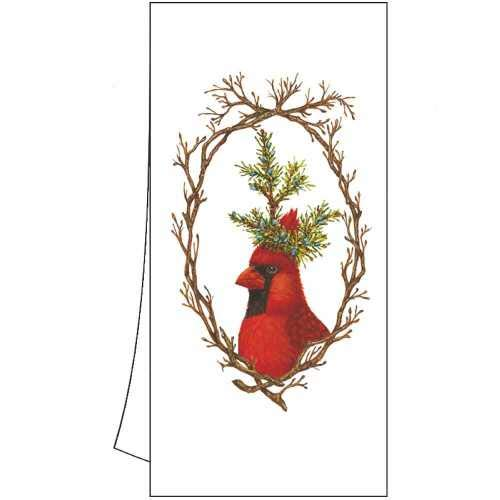 Paper Products Design Twig Wreath Cardinal Dish Tea Towel