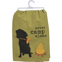 Primitives by Kathy - Never Camp Alone Dog Dish Towel