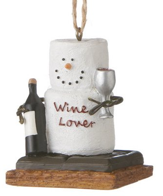Marshmallow S'mores Wine Lover Christmas Ornament