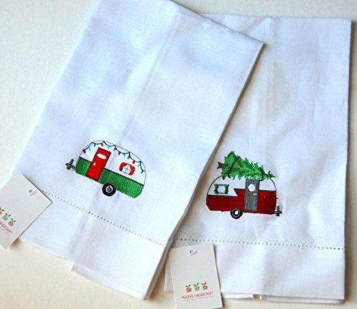 Retro Christmas Campers Linen Tea Towel Set - 2