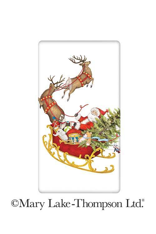 Santa and His Sleigh Christmas 100% Cotton Flour Sack Dish Towel Tea Towel