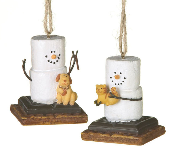 Dog and Cat Chocolate S'mores Christmas Ornaments - Set of 2