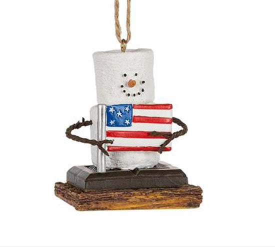 American Flag Chocolate S'mores Christmas Ornament - Graham Cracker S'more