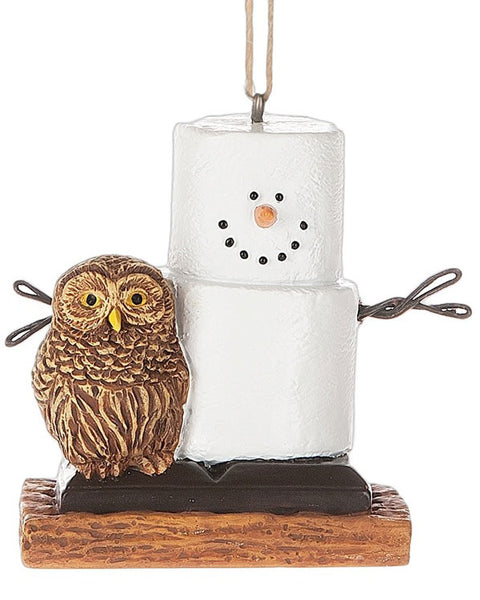 Forest Owl Chocolate S'mores Cristmas Ornament - Graham Cracker S'more