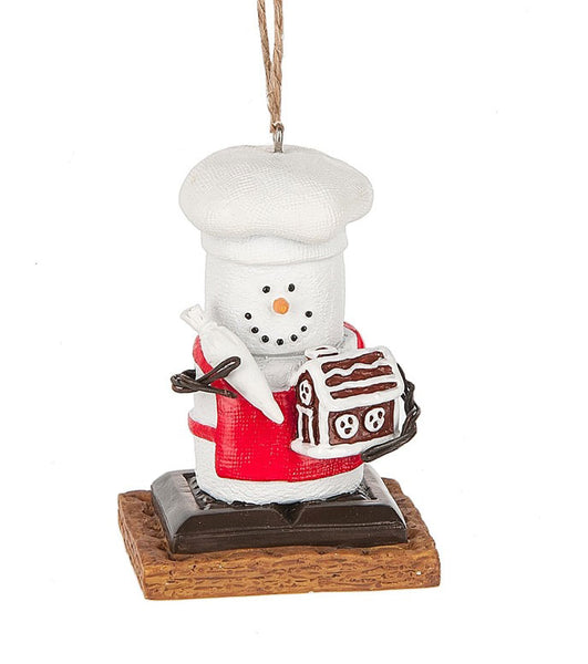 Marshmallow S'mores Chef Building Gingerbread House Christmas Ornament
