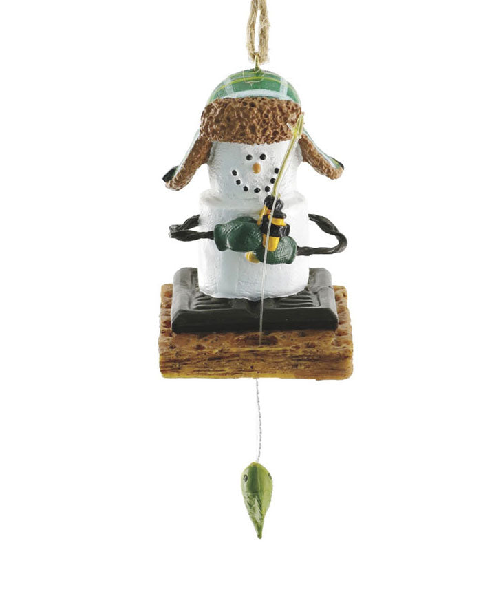 Marshmallow S'mores Ice Fisherman Christmas Ornament