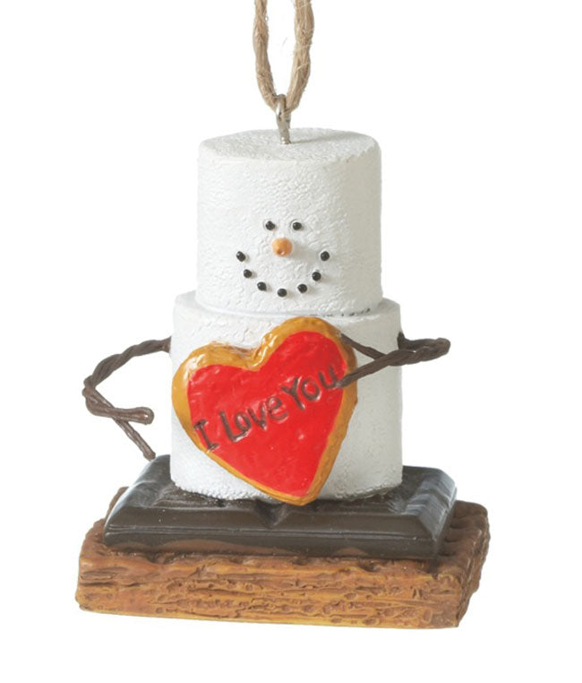 Marshmallow S'Mores I Love You Heart Christmas Ornament