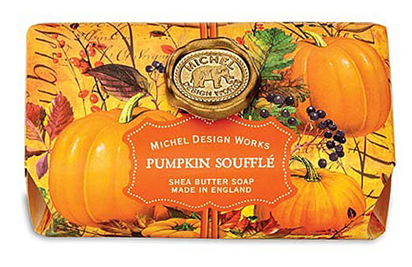 Michel Design Works Oversized Triple Milled Shea Butter Bath Soap Bar, Pumpkin Soufflé