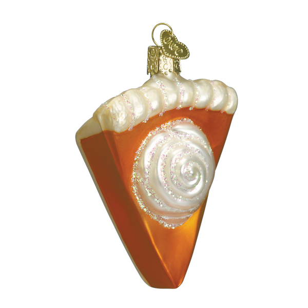 Old World Christmas Thanksgiving Pumpkin Pie Slice Glass Ornament