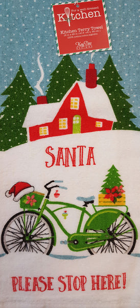 Kay Dee Designs Santa Please Stop Here Christmas Bike Terry Dish Towel