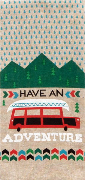 "Have An Adventure 100% Cotton Chambray Dish Towel / Tea Towel, 18"" x 28"""