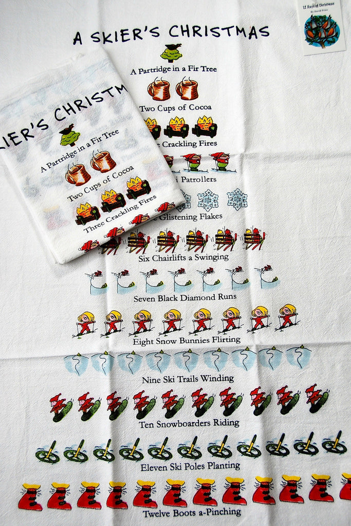 "Twelve Days of a Skier's Christmas Flour Sack Cotton Kitchen Dish Towel Tea Towel - 18"" x 26"""